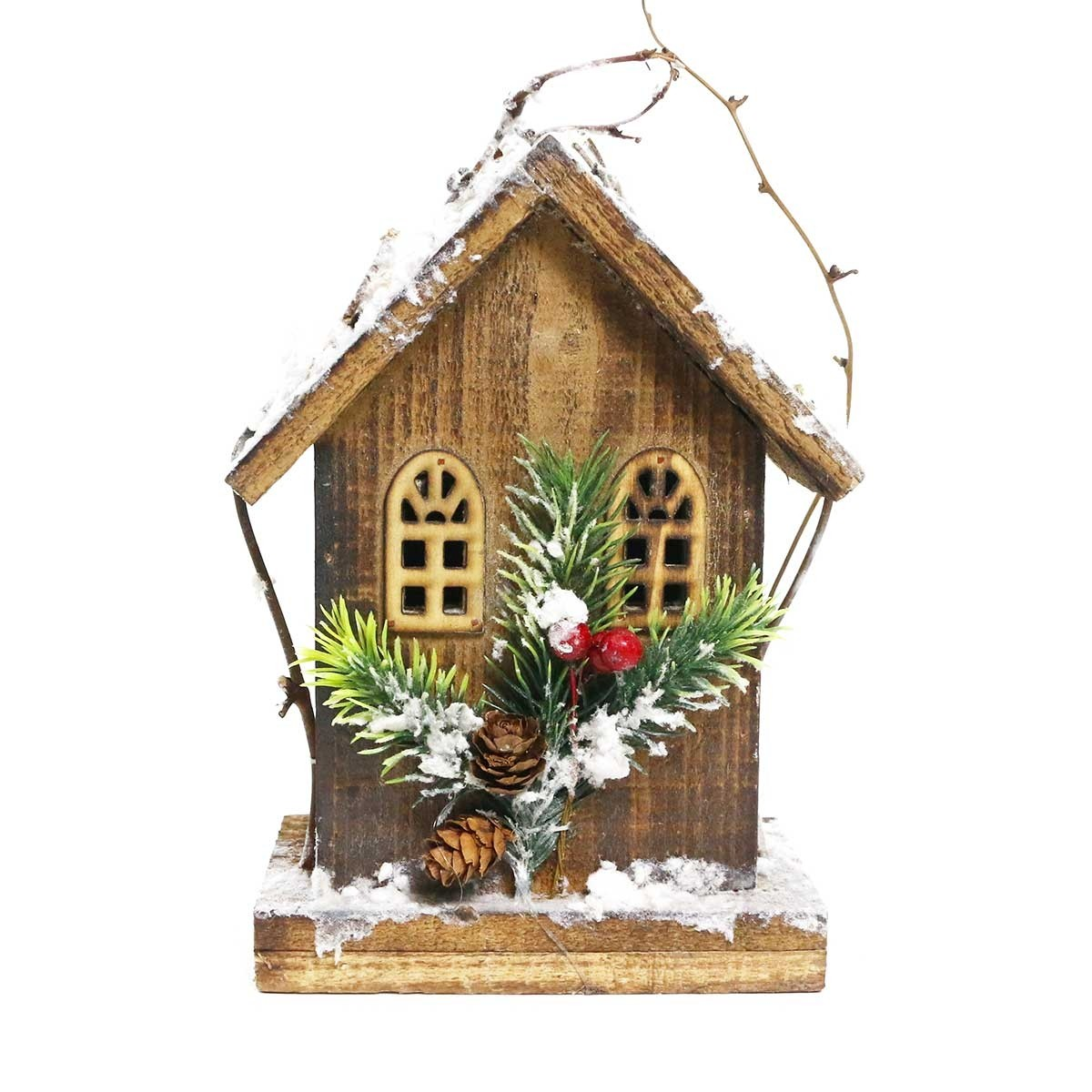 "8"" Christmas Wooden Birdhouse with 5 LED Lights"