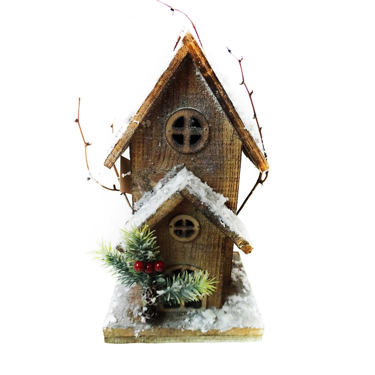 "11"" Christmas Wooden Birdhouse with 10 LED Lights"