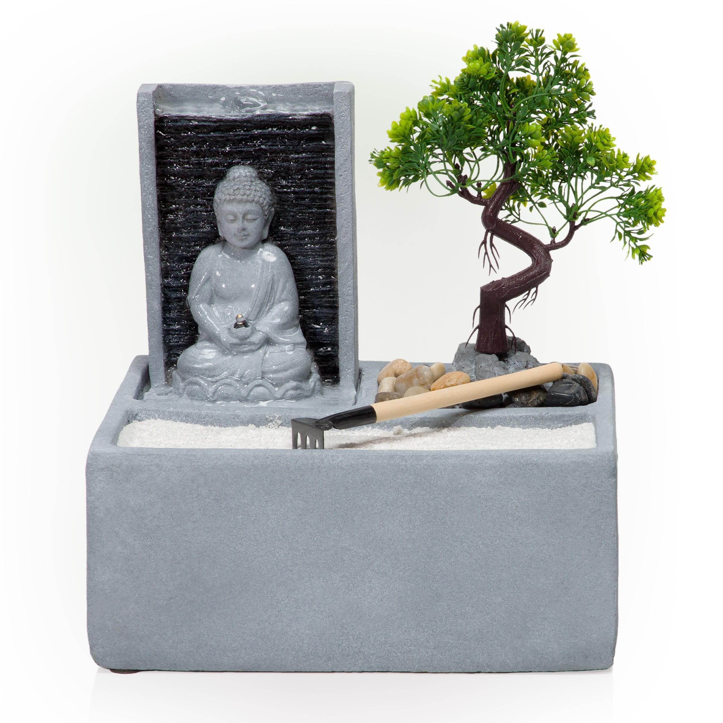 "13"" Buddha Bonsai Garden Tabletop Fountain with LED Light"