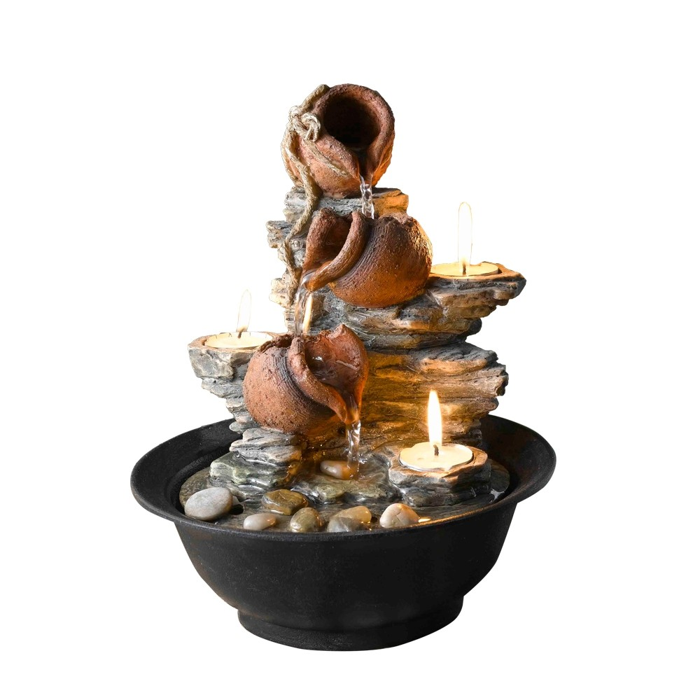 "10"" Tavolo Luci Mini Pot Tabletop Fountain with Candle"
