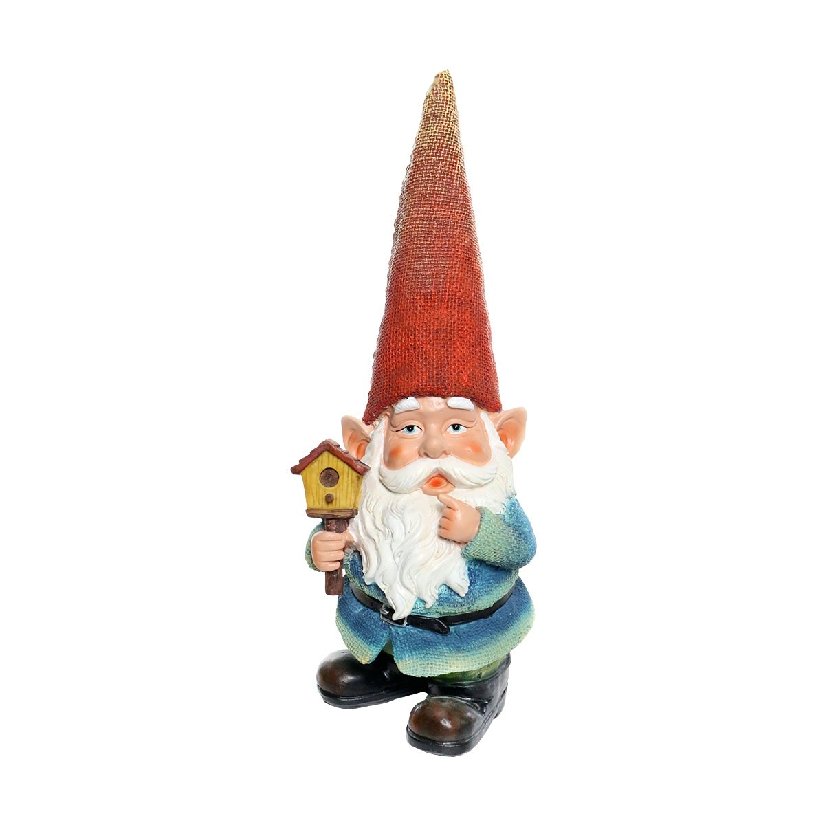 "Decorate your walk way, garden or home with this quirky Gnome holding a birdhouse. Stands 15"" inches tall, and is sure to accent any home or garden."