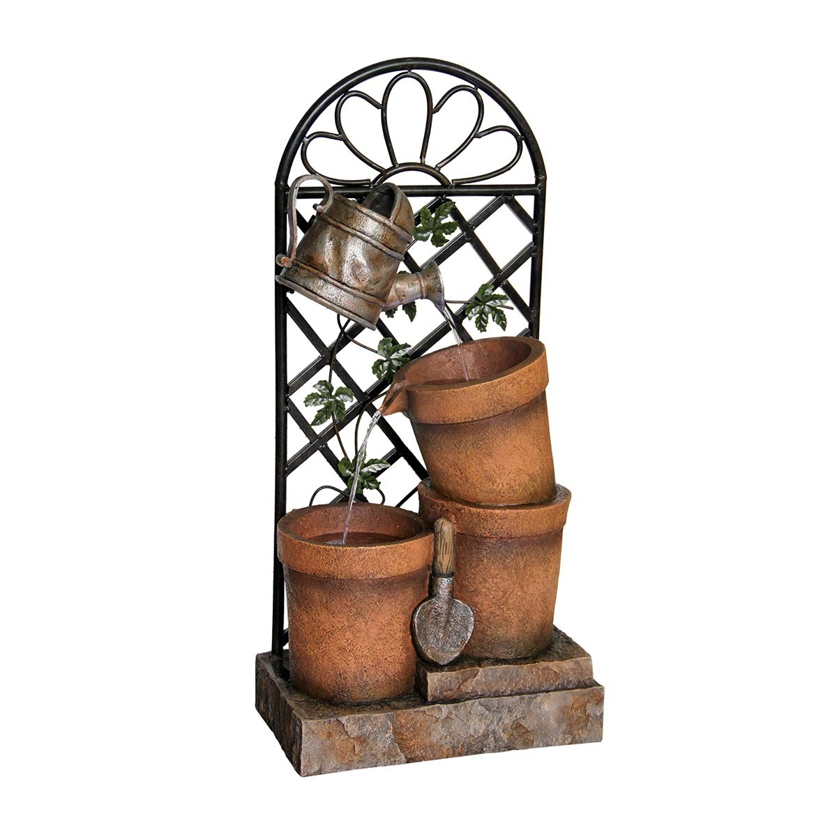 "34"" Tall Three Flower Pot Garden Fountain"