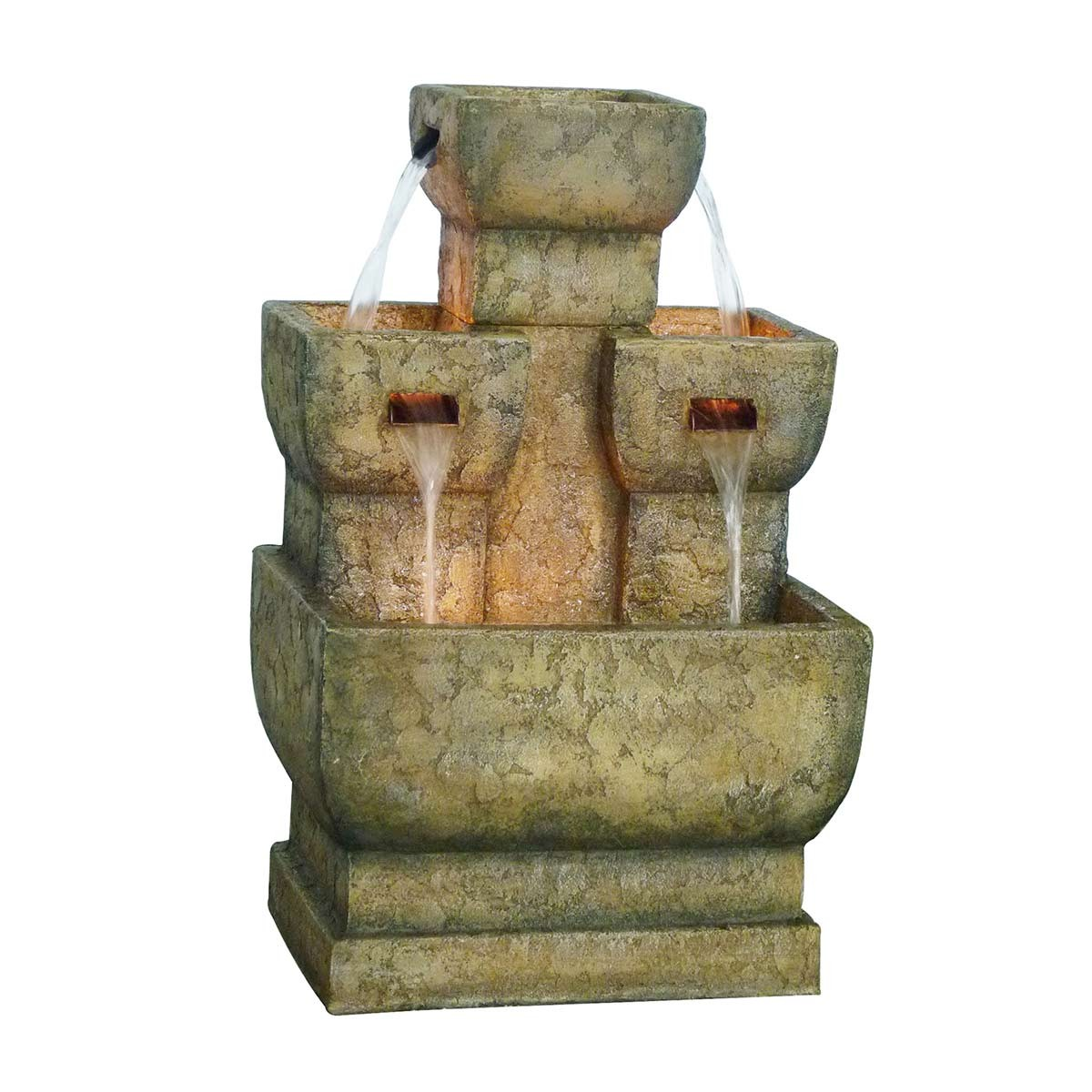 Two Tier Stone Fountain with LED Lights