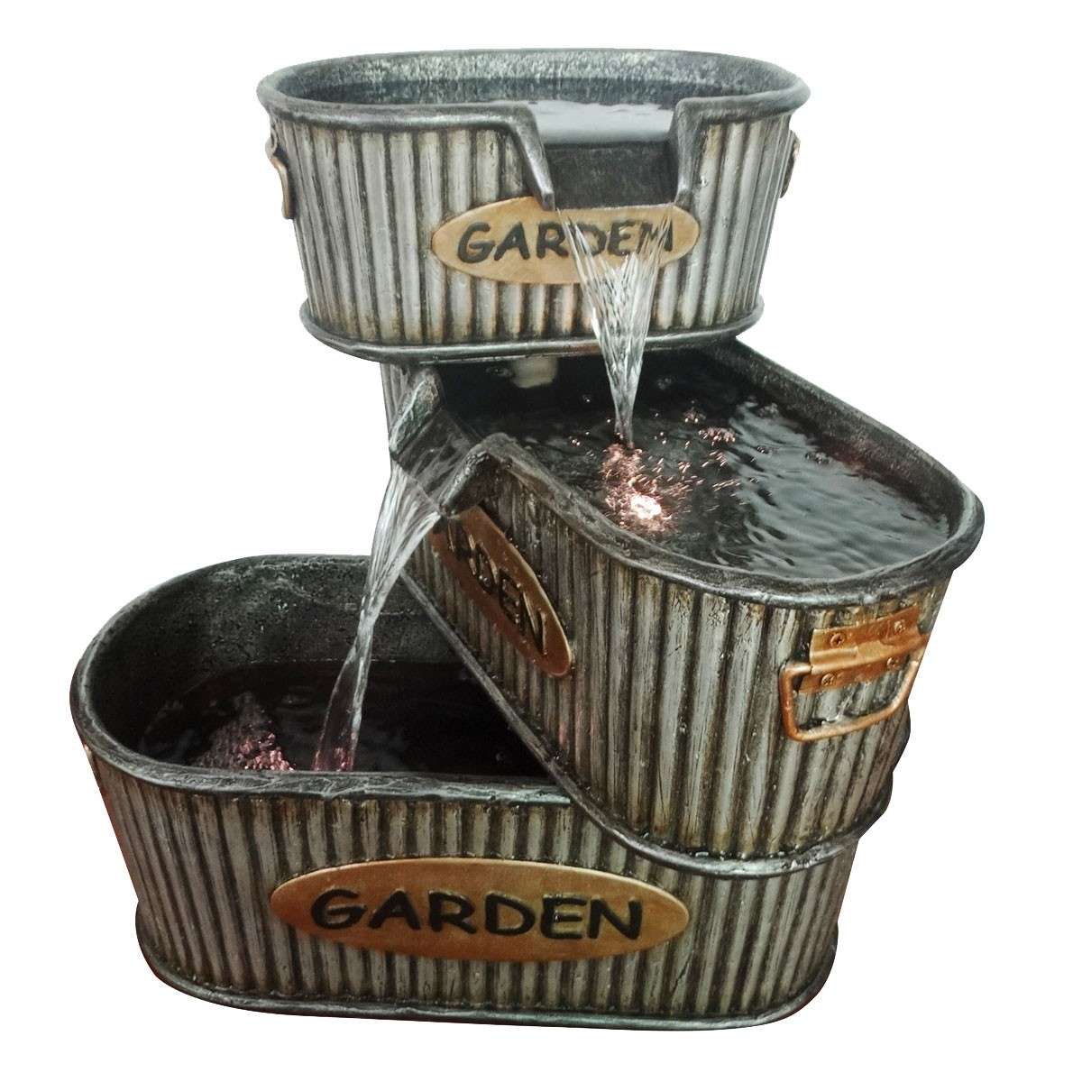Old Fashioned 3 Tier Garden Tin Fountain