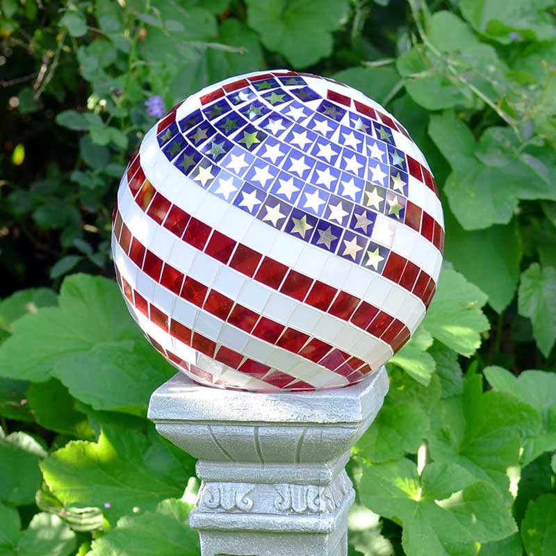 "10"" Mosaic Glass Gazing Globe American Flag"