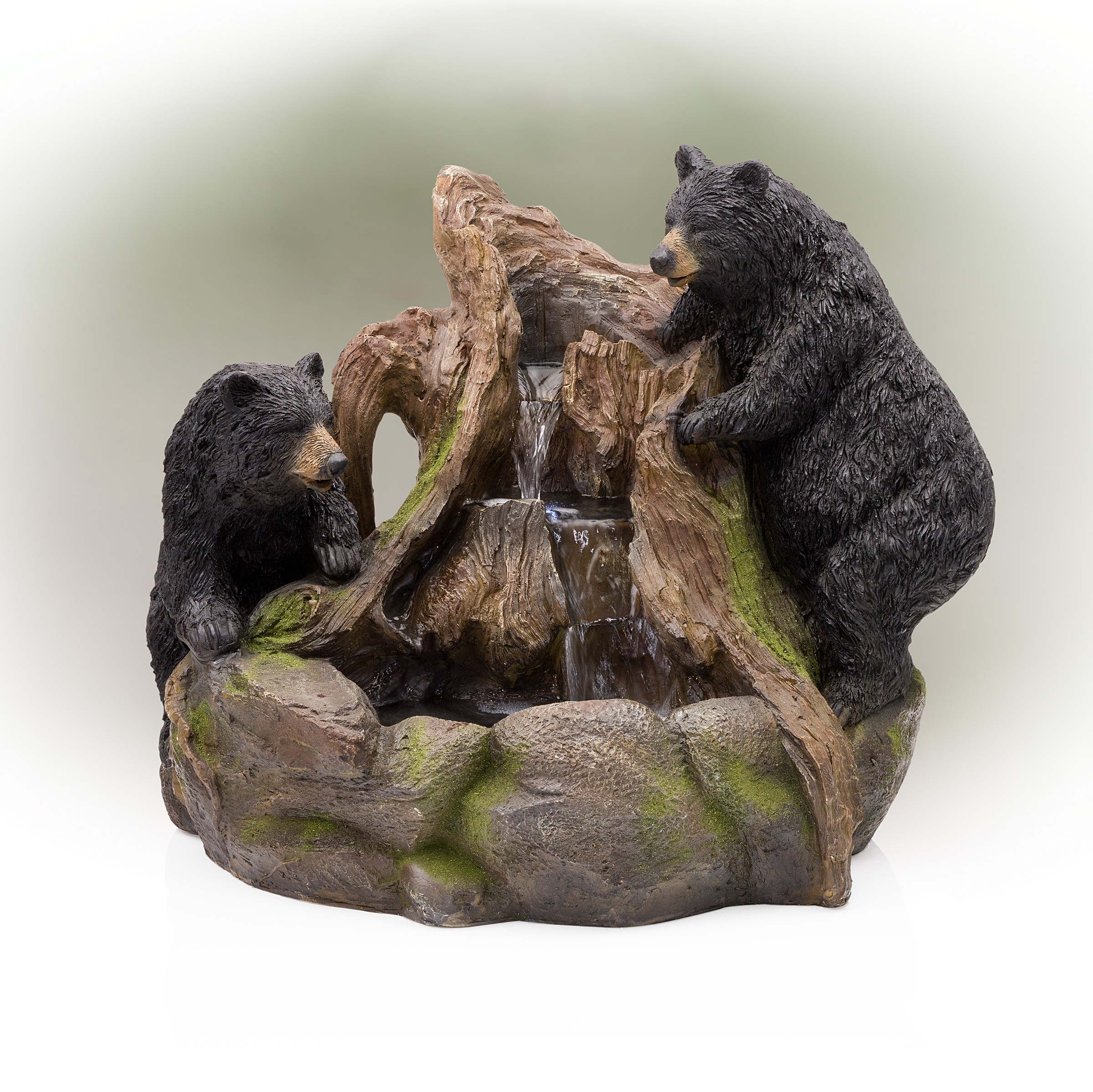 "23"" Tall 2 Bears Climbing on Rainforest Fountain with LED Lights"