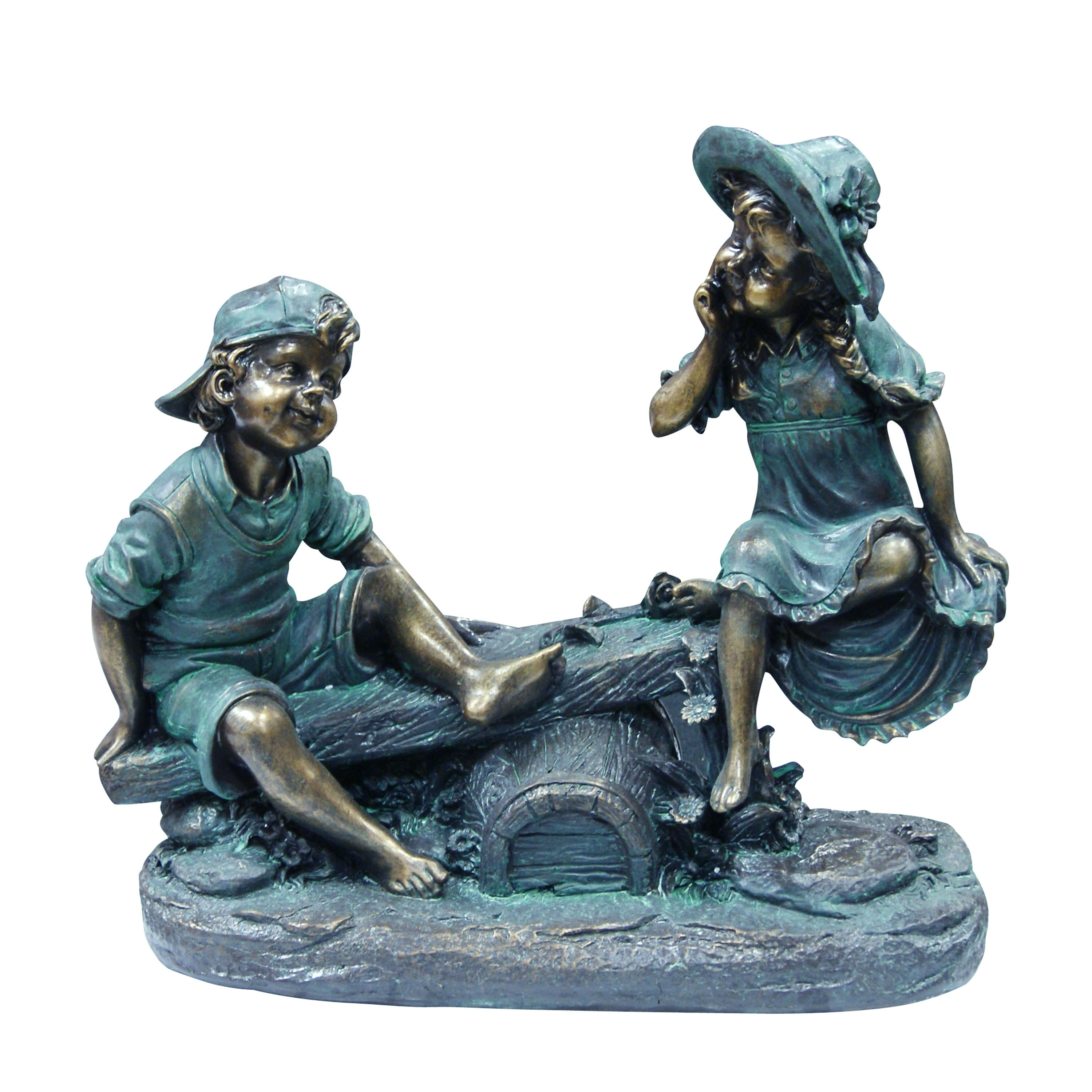 """14"""" Tall Girl and Boy Playing on Teeter Totter Statue"""