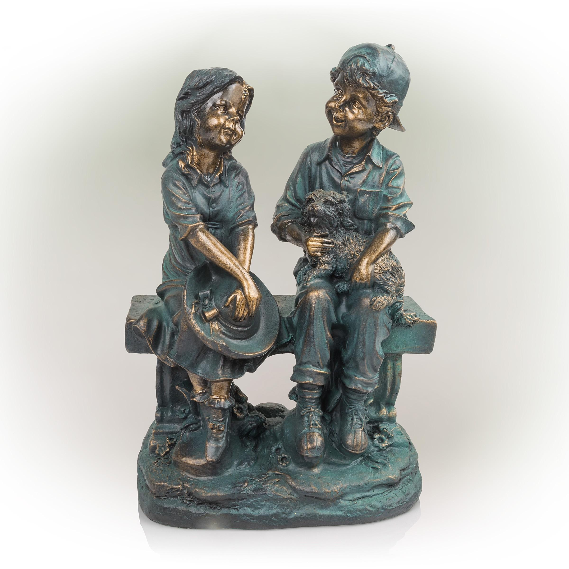 """16"""" Tall Girl and Boy Sitting on Bench with Puppy Statue"""
