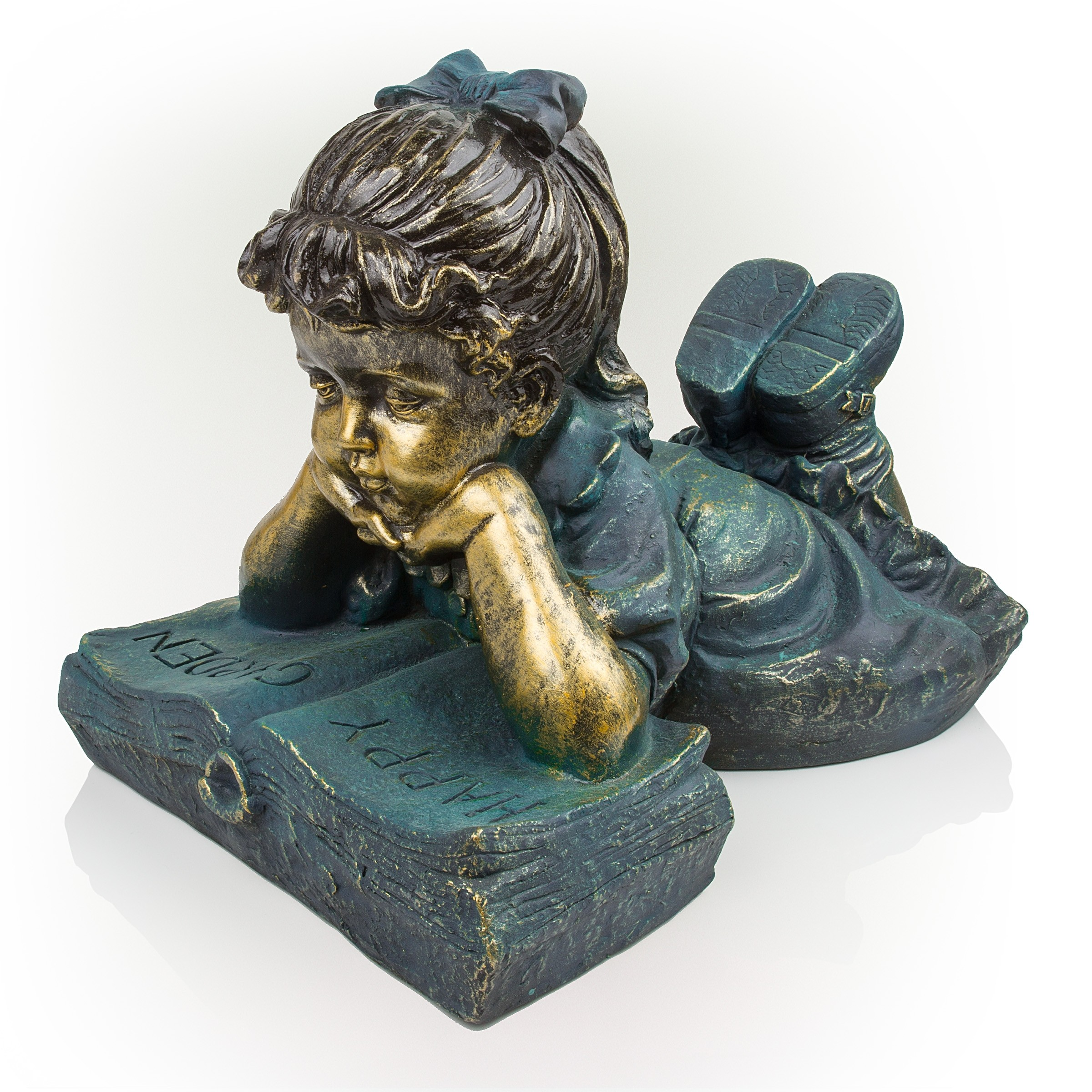 """16"""" Tall Girl Laying Down Reading Book Statue"""