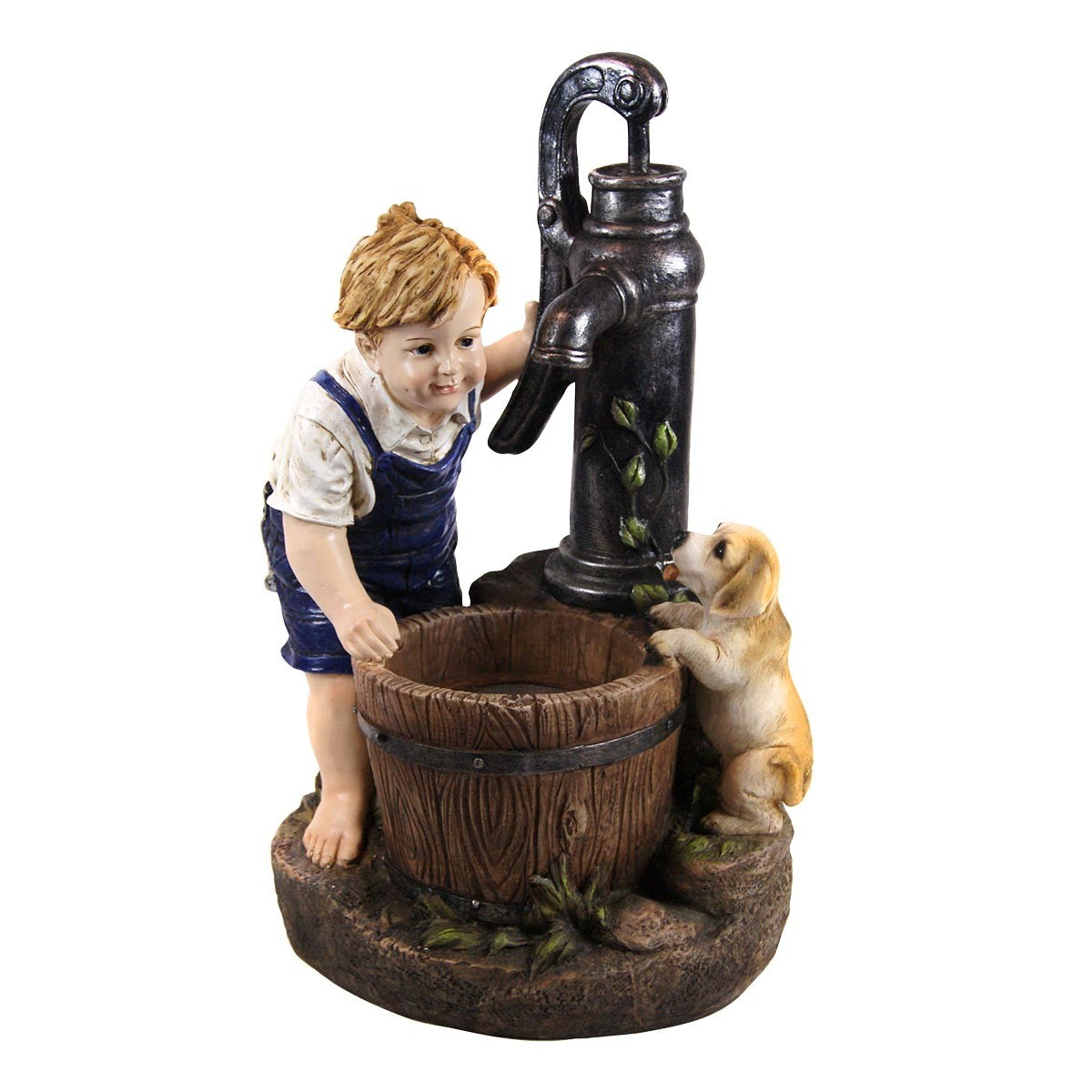 "25"" Boy and Dog with Water Pump Fountain and LED Light"