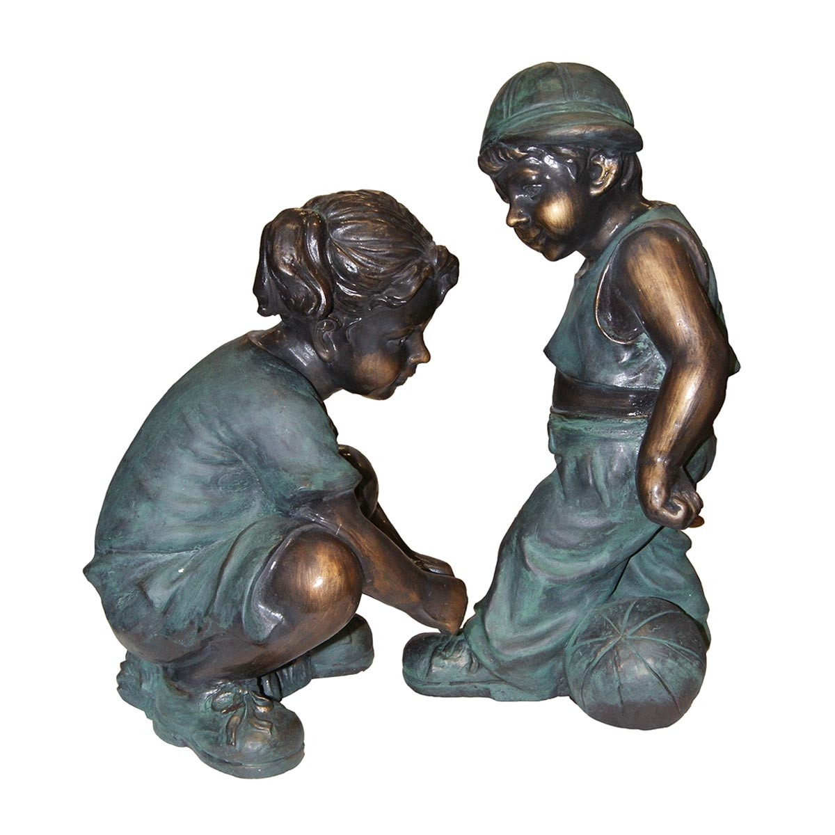 Girl Fixing Boy's Shoe Lace Statue