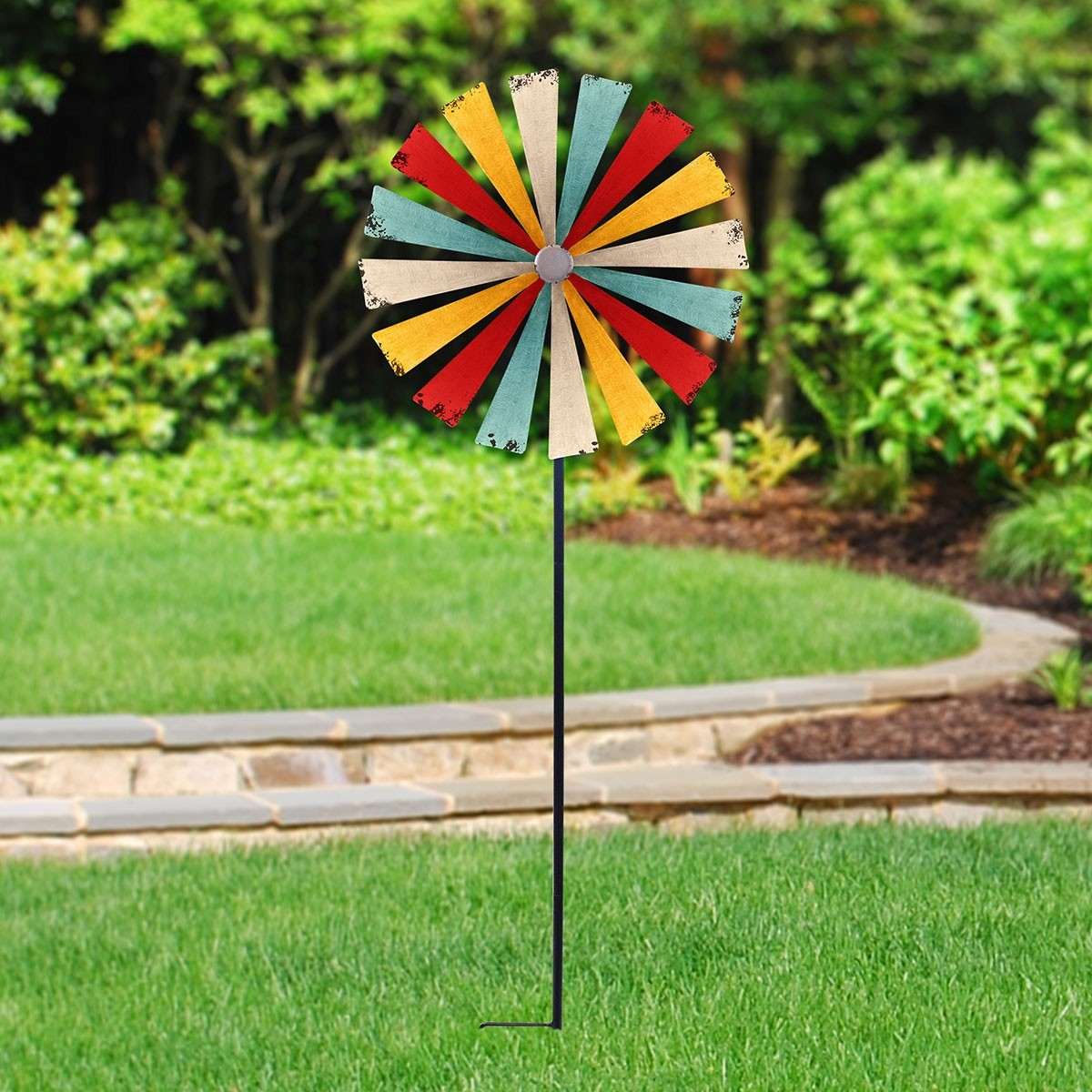 "73"" Multi-Color Garden Metal Stake Windmill Spinner"