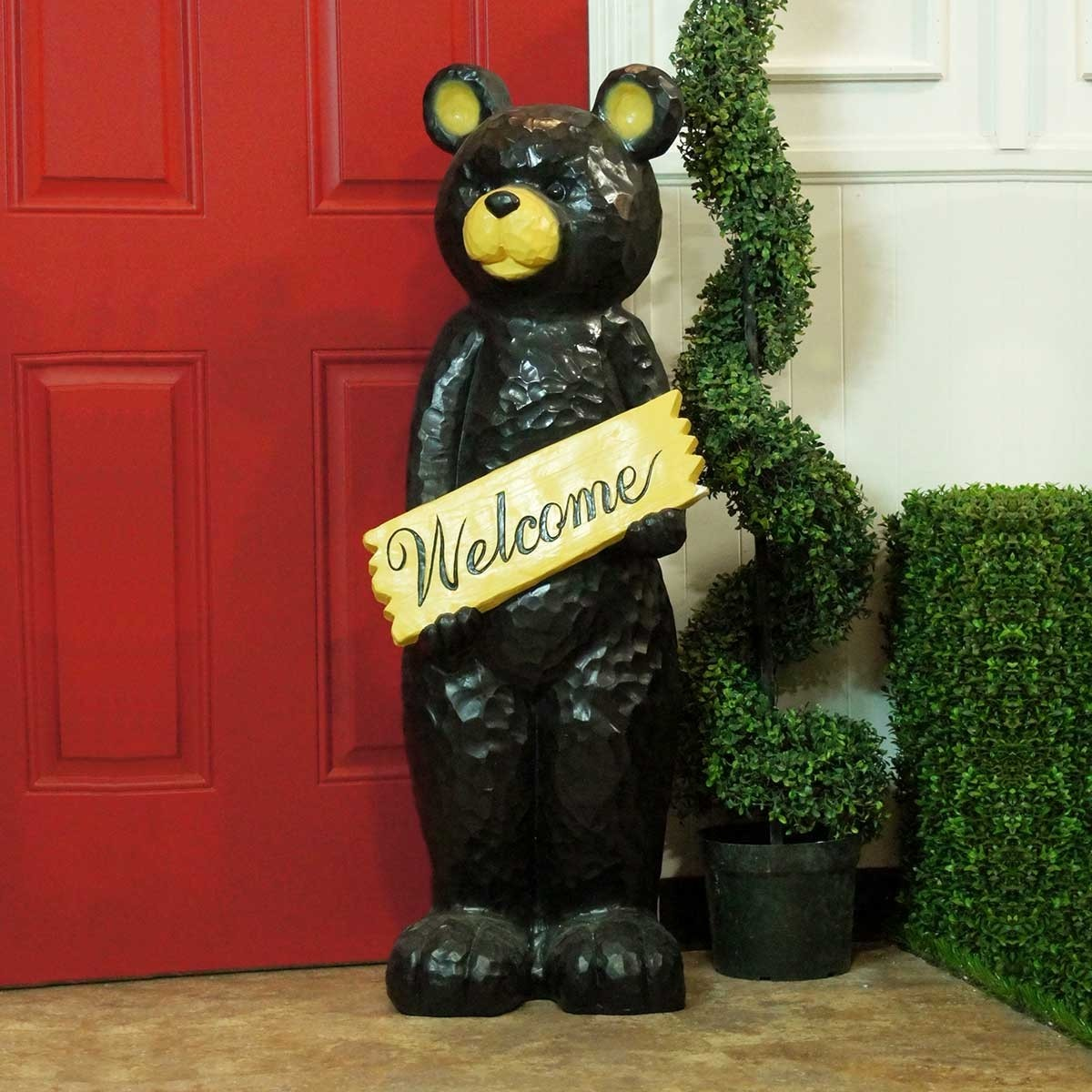 Black Bear Holding Welcome Sign Statue