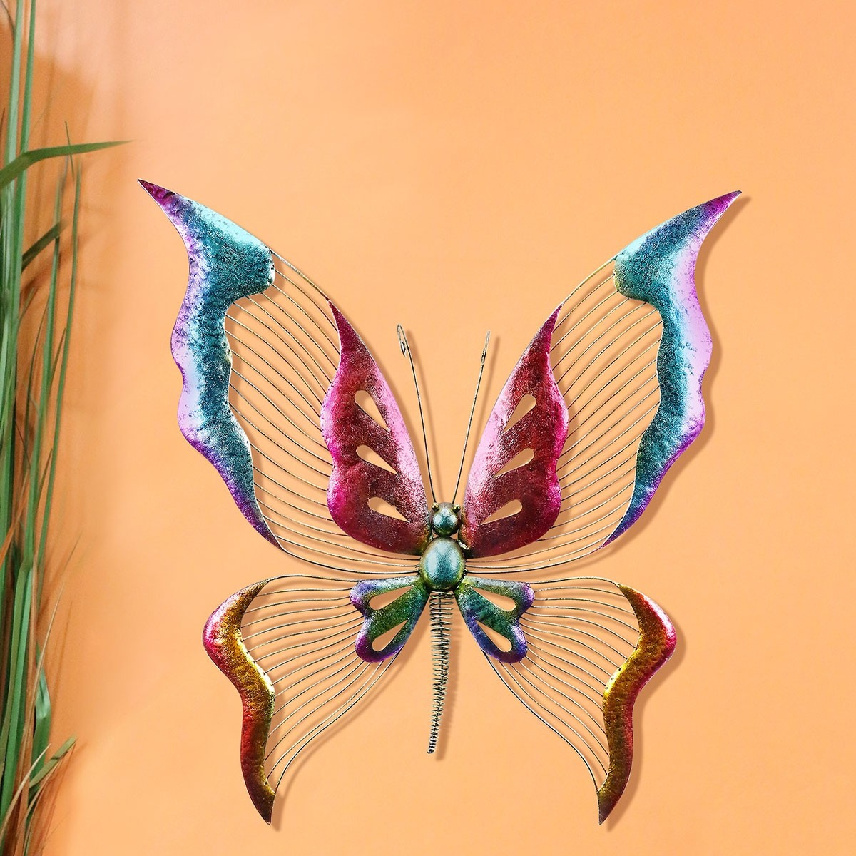 Dazzling Metallic Butterfly Wall Décor with Glossy Finish