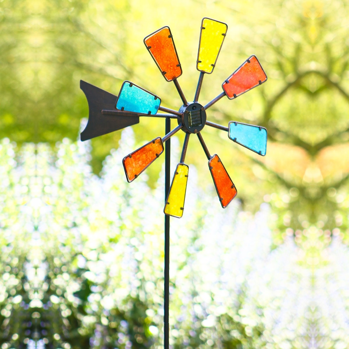 """69"""" Solar Colorful Windmill Stake with 4 Cool White LED Lights"""