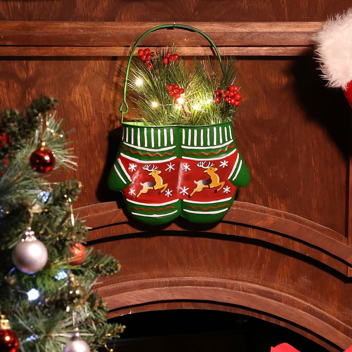"""10"""" Christmas Hanging Metal Red/Green Mittens Planter - LED Light"""