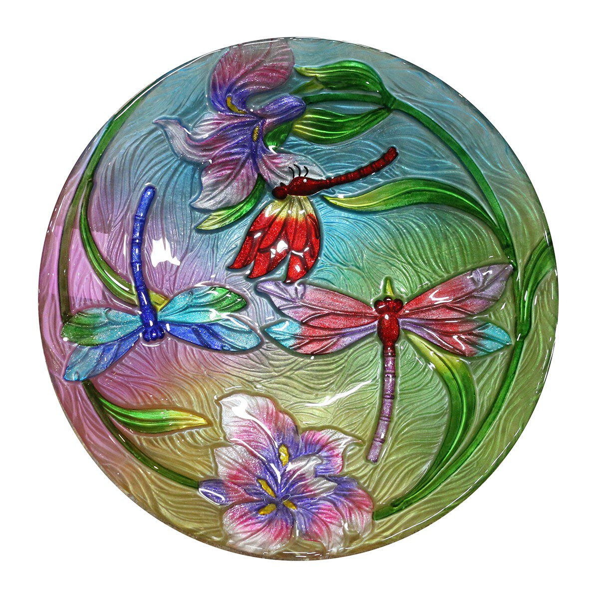 "18"" Flower with Dragonflies Birdbath Topper"
