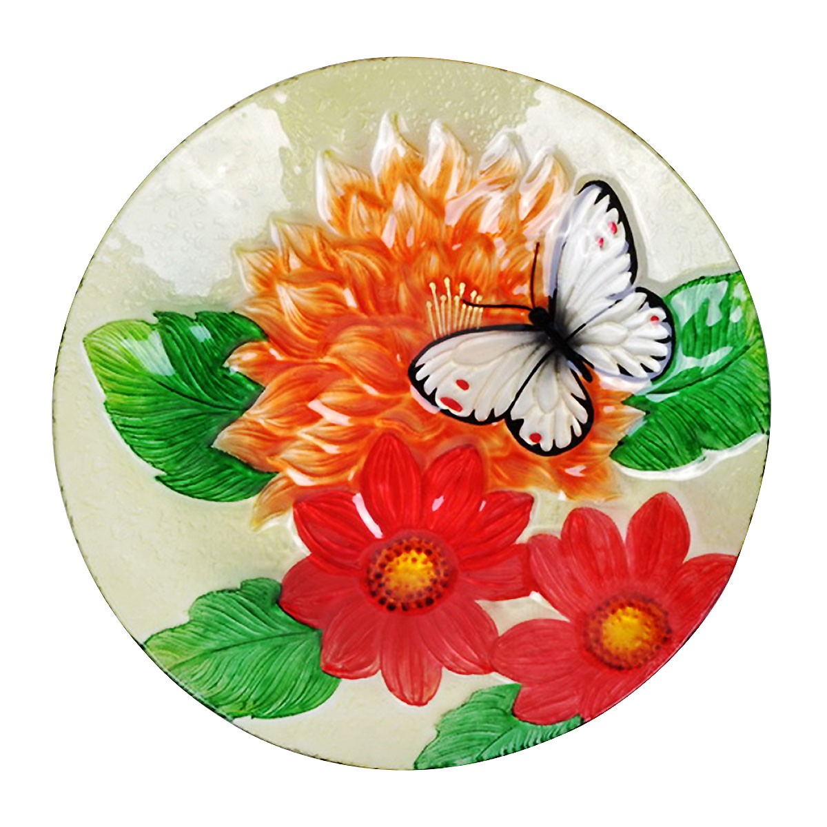 "18"" White Butterfly and Orange Flowers Birdbath Topper"