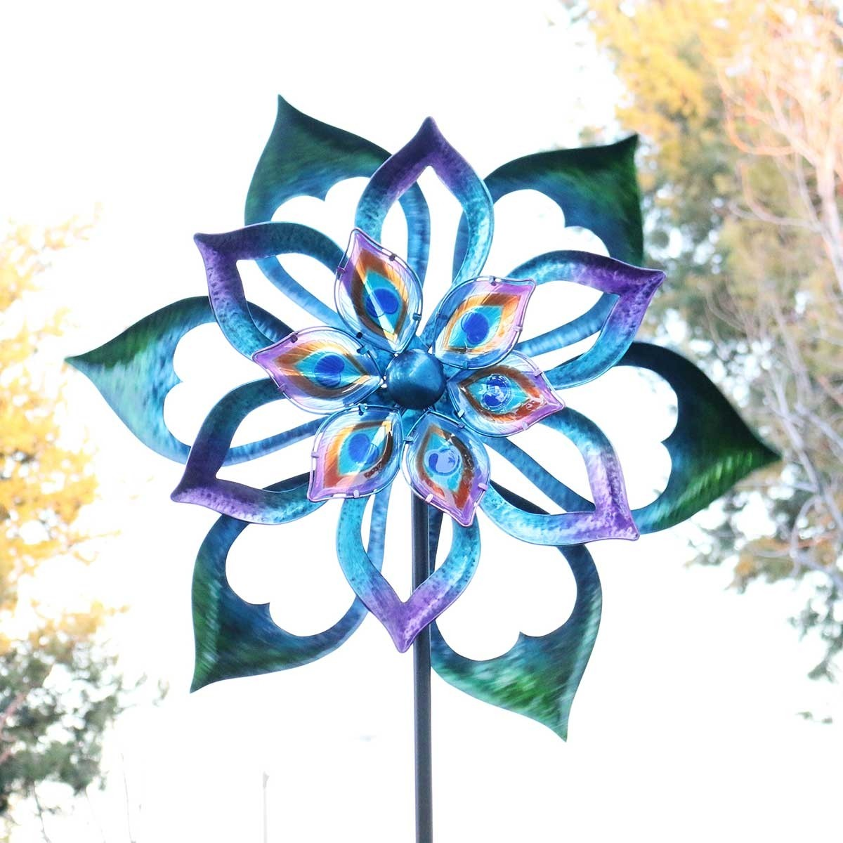 """96"""" Double-Sided Flower Spinning Garden Stake"""