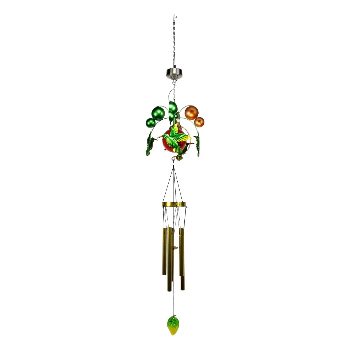 "36"" Solar Glossy Hummingbird and Glass Windchime with LED Lights"