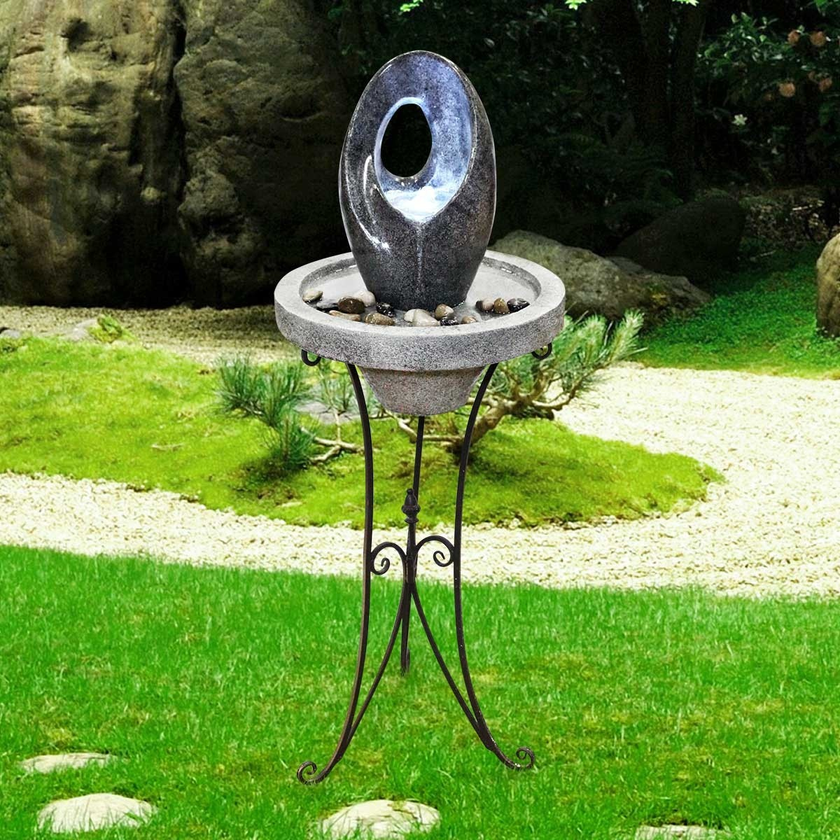 Abstract Fountain with LED Light