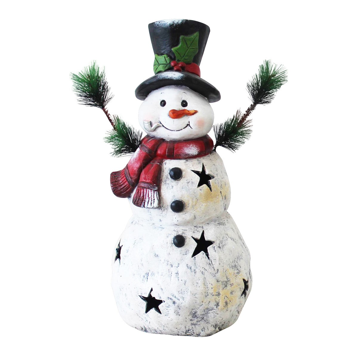 Christmas Snowman Statuary with Black Stars