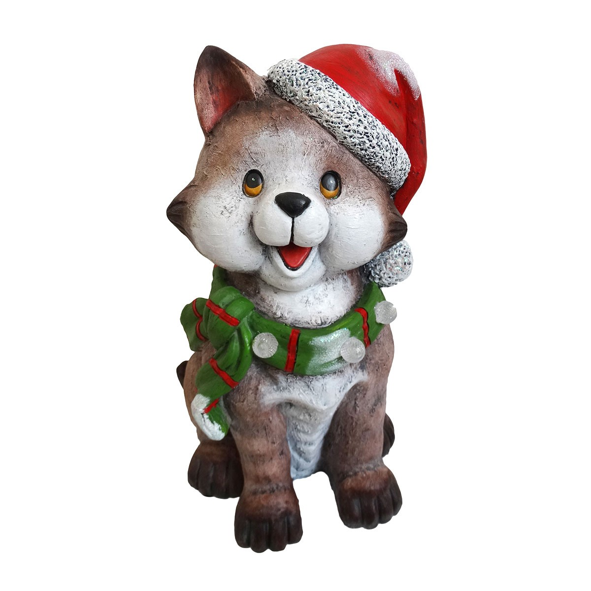 Cat wearing Santa Hat & Green Scarf Décor w/3 LED Lights