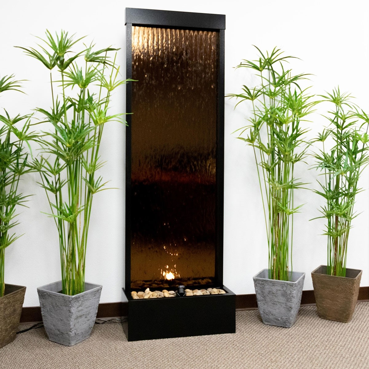 6' Tall Bronze Mirrored Water Fountain | Water Wall