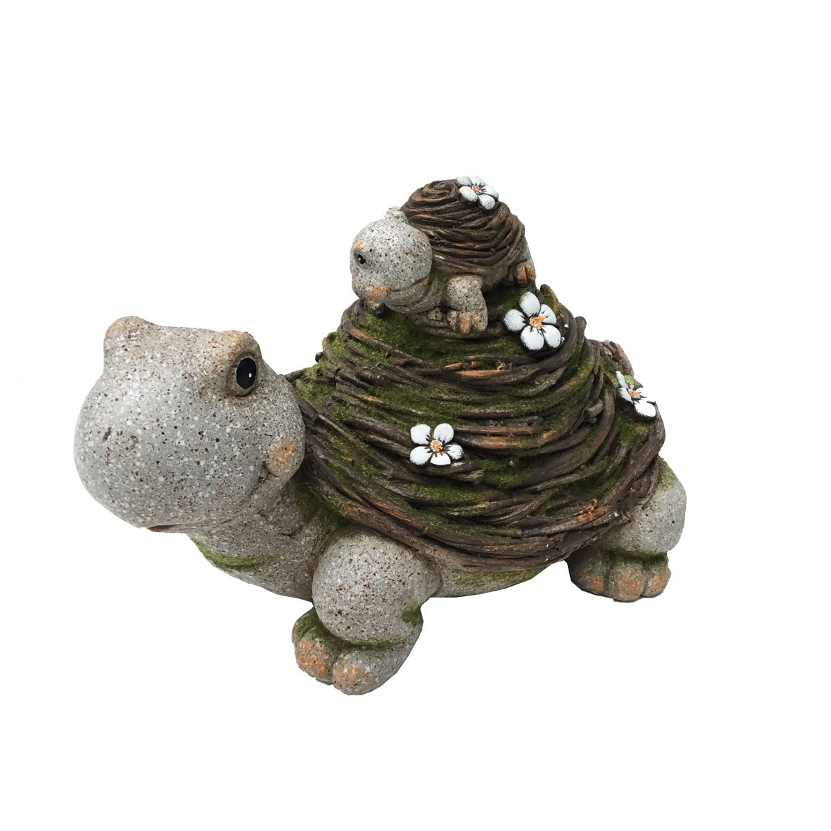 Delightful turtle mother and son duo making their way to your garden. Incorporating a few decorative details such as flowers on their shells, and stone like materials.
