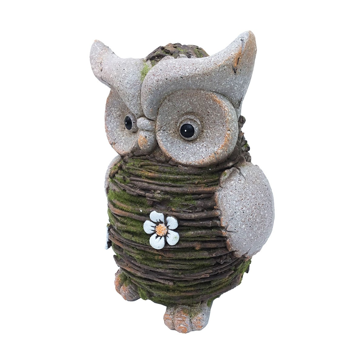 """13"""" Twig Feathered Owl Statue with Polished Finish"""