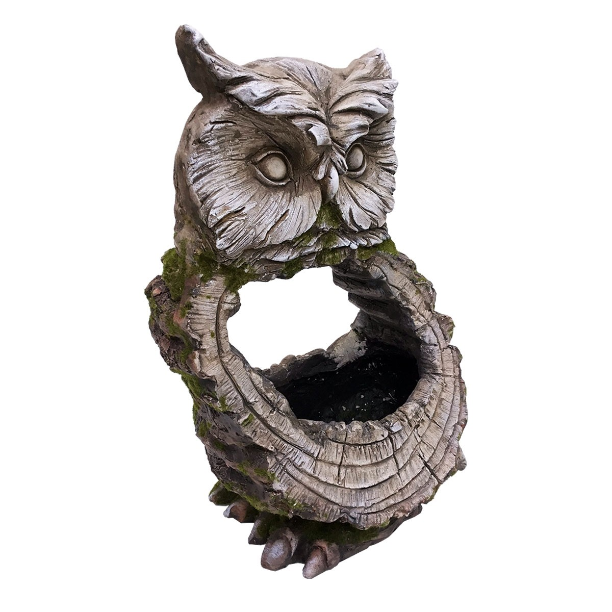 "15"" Stone Owl Planter with Wooden Carved Finish"