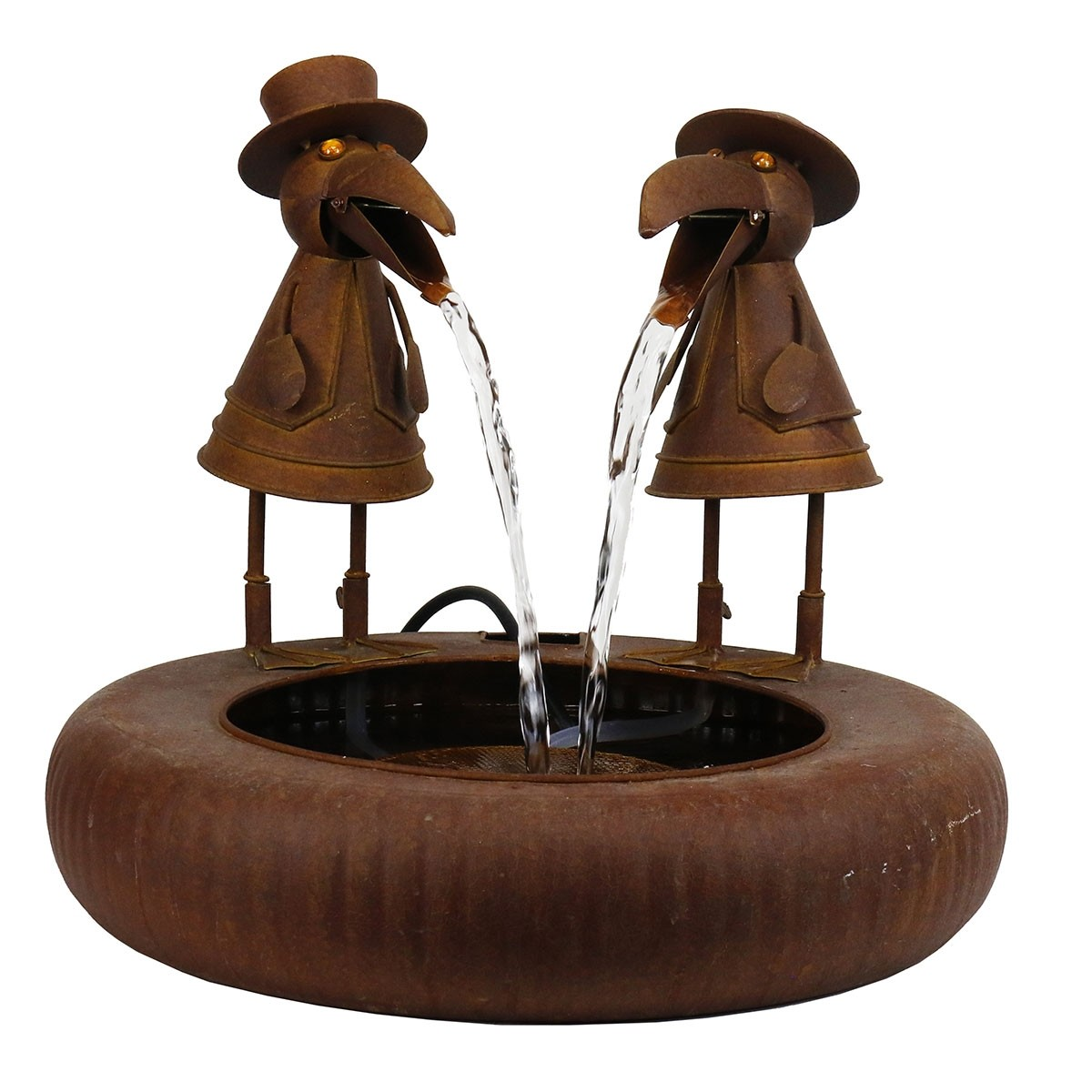 "20"" Toucans in Suits Metallic Fountain with Rustic Finish"