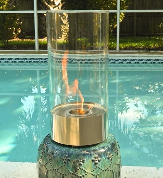 Cristallo Cylinder Table Top Fireplace