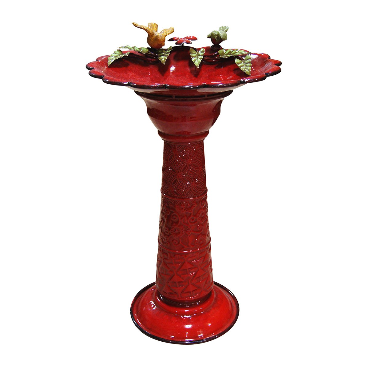 "28"" Tall Red Metal Birdbath"