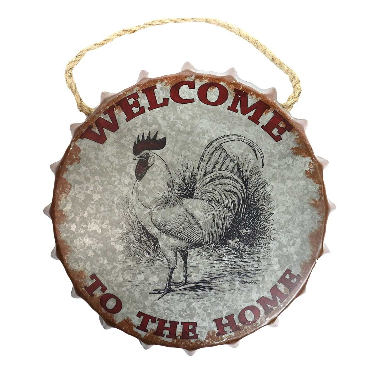 """""""Welcome"""" Rooster Bottle Cap Wall Décor"""