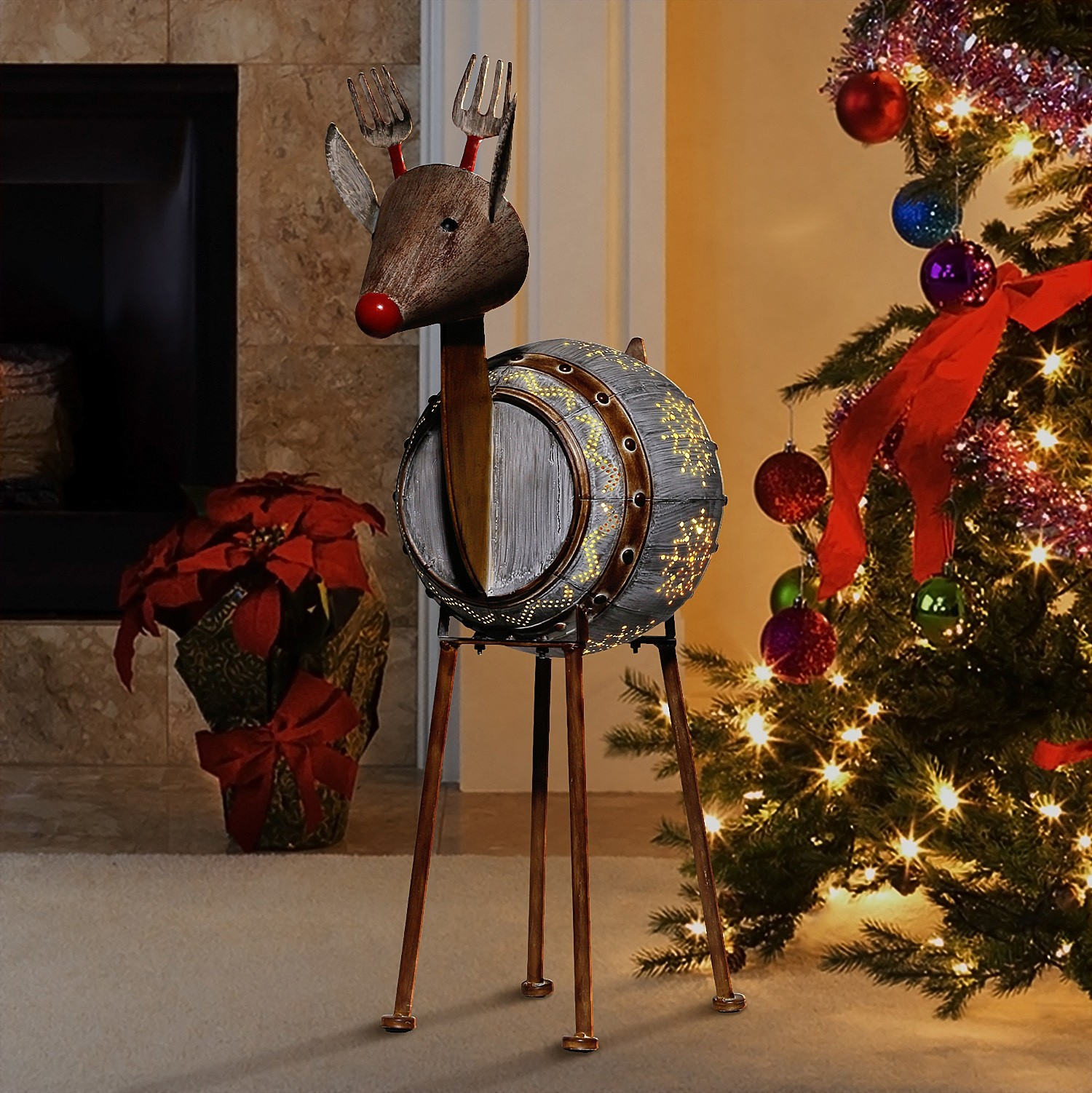 """33"""" Weathered Barrel Reindeer with Warm White LED Lights"""