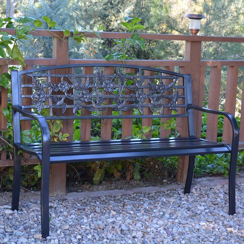 "50"" Flowers and Birds Park Bench"