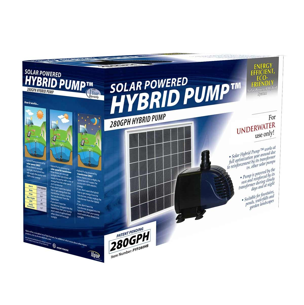 Hybrid Powered 280GPH Garden Pump w/ solar panel