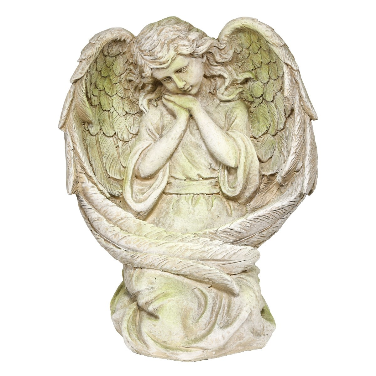 "19"" Medieval Guardian Angel Garden Statue with Mossy Finish"