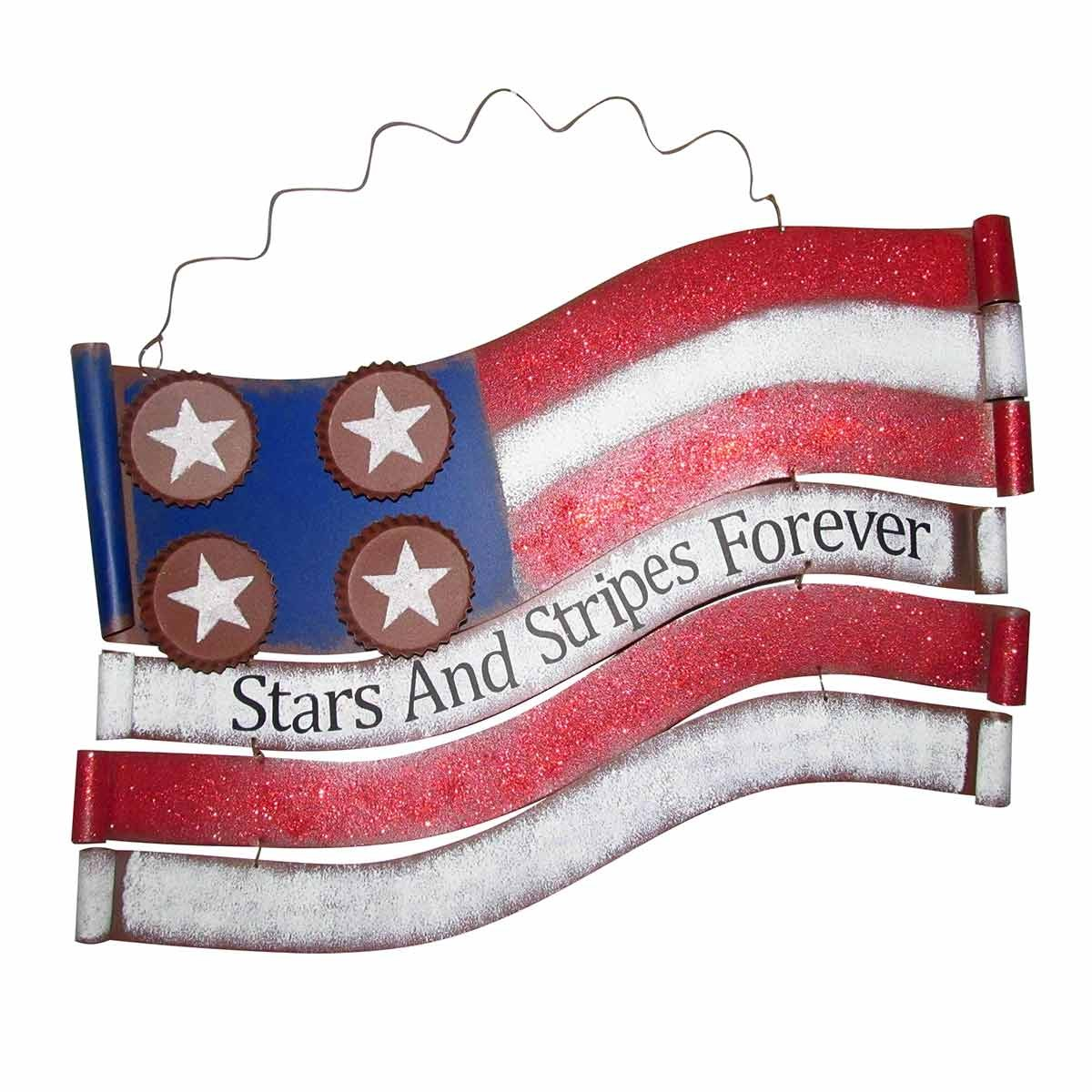 "11"" Tall American Flag ""Stars and Stripes"" Metal Wall Decor"