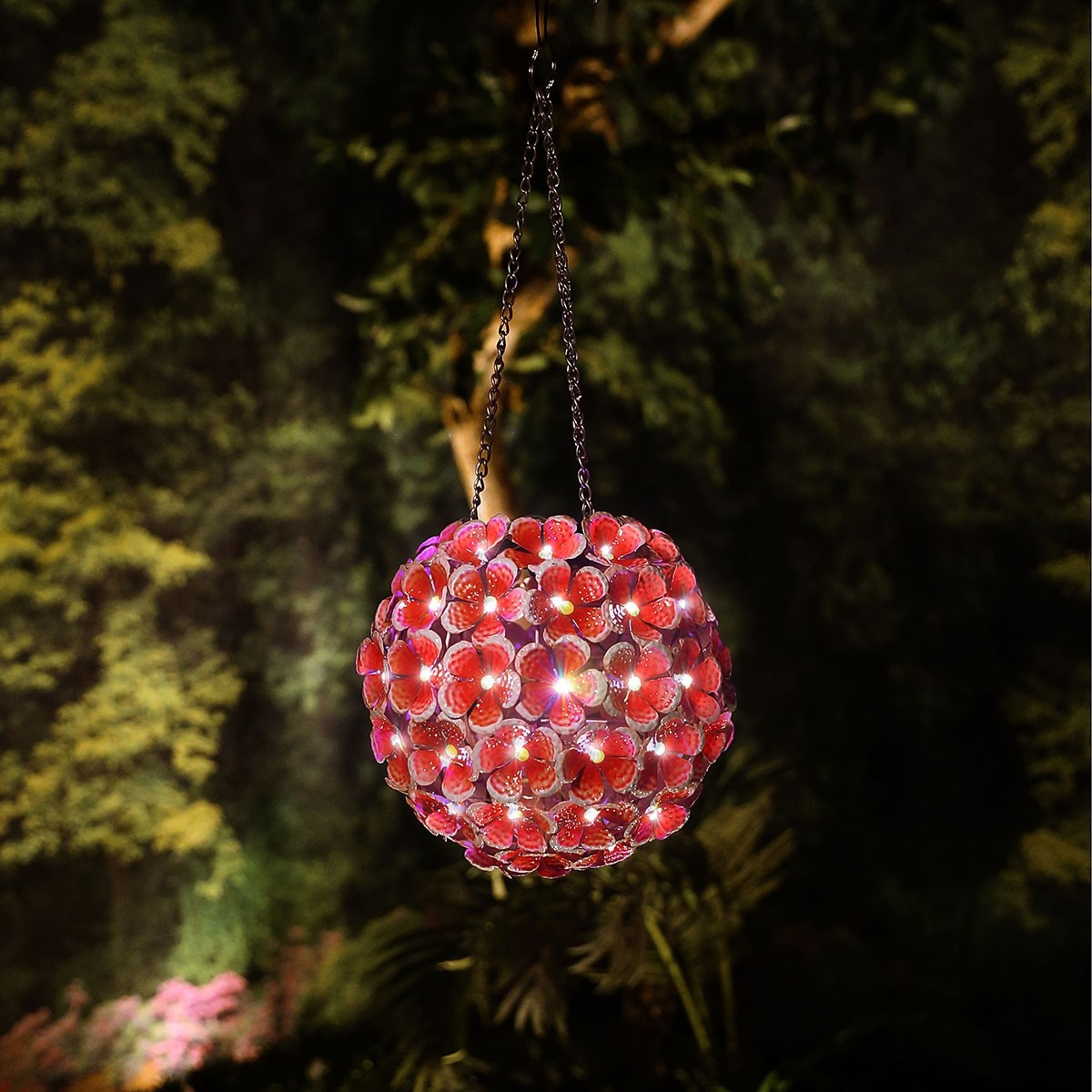 Solar Metal Hanging Red Hydrangea Ornament