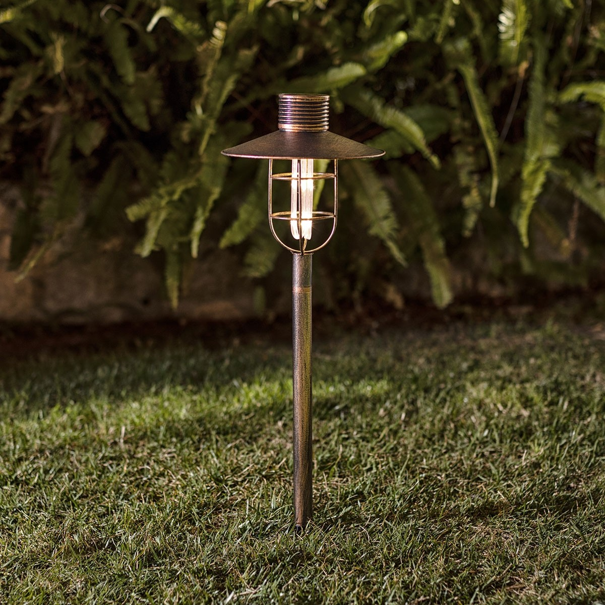Solar Bronze Pathway Light with 18 Warm White LED Lights