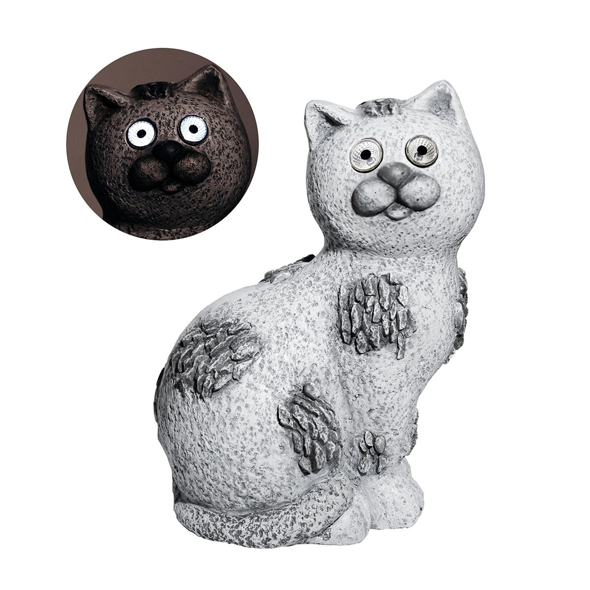 """14"""" Solar Slate Stone Cat Garden Statue with LED Lights"""