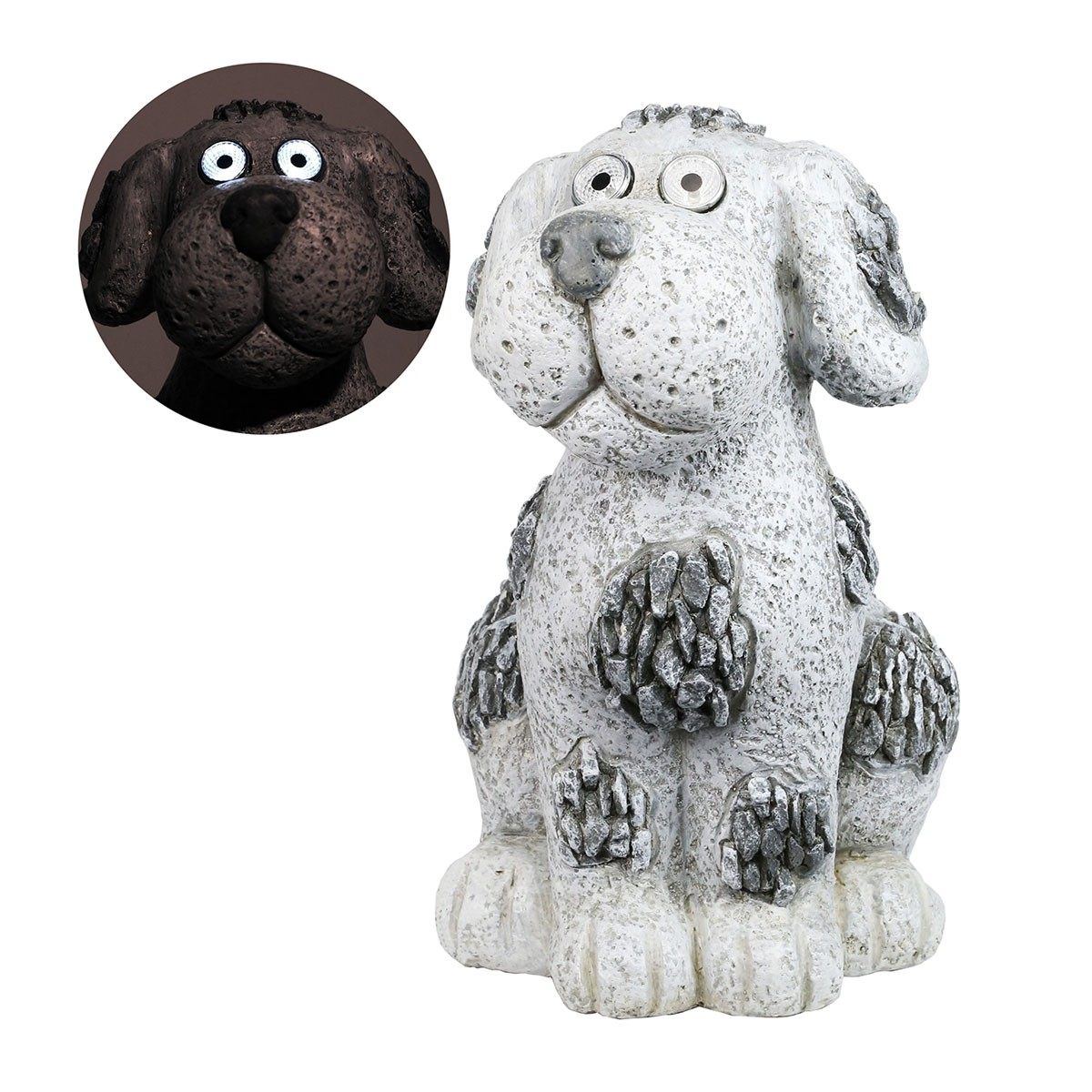 "14"" Solar Slate Stone Dog Garden Statue with LED Lights"
