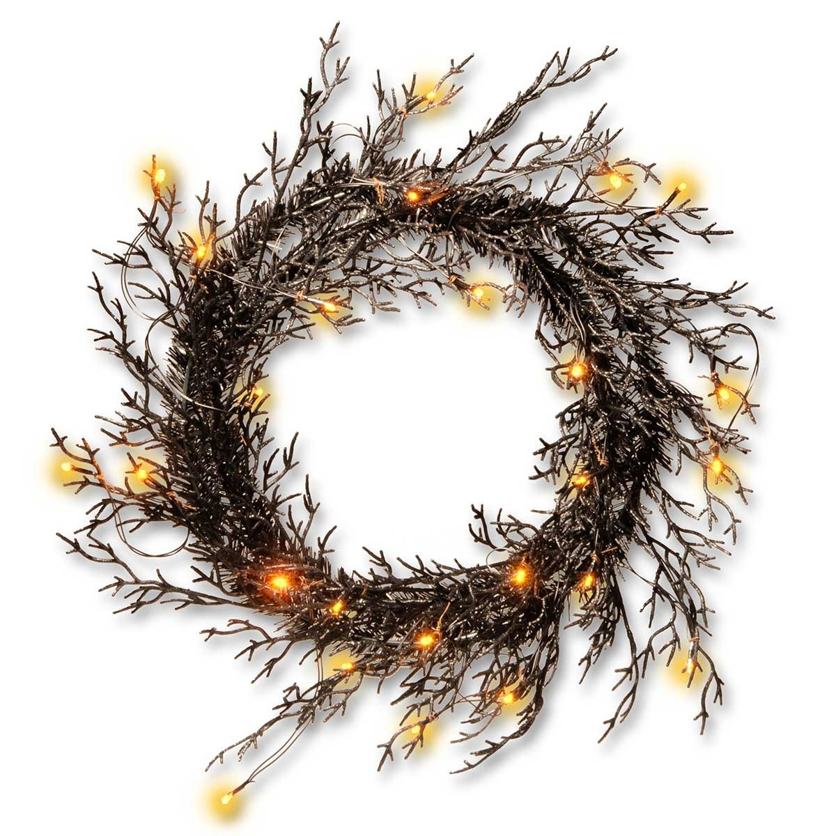 "26"" Black Glittered Haloween Wreath with Lights"