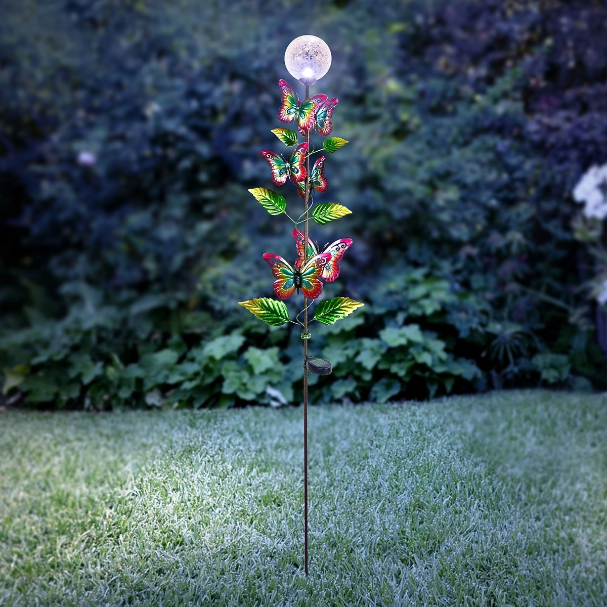 """65"""" Solar Glass Ball with LED Light and Butterfly Petaled Stake"""