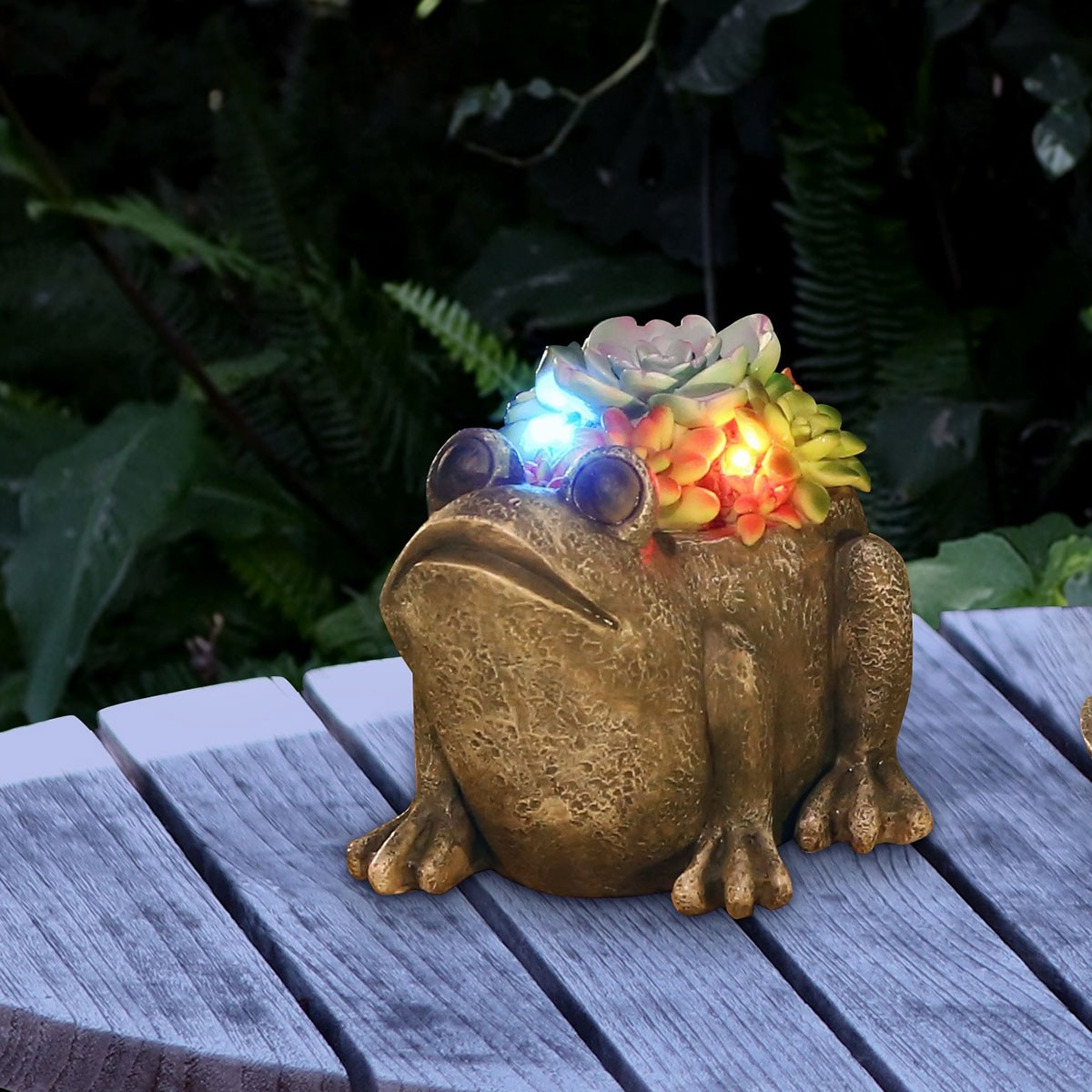 """5"""" Solar Succulent Frog Garden Statue with LED Lights"""
