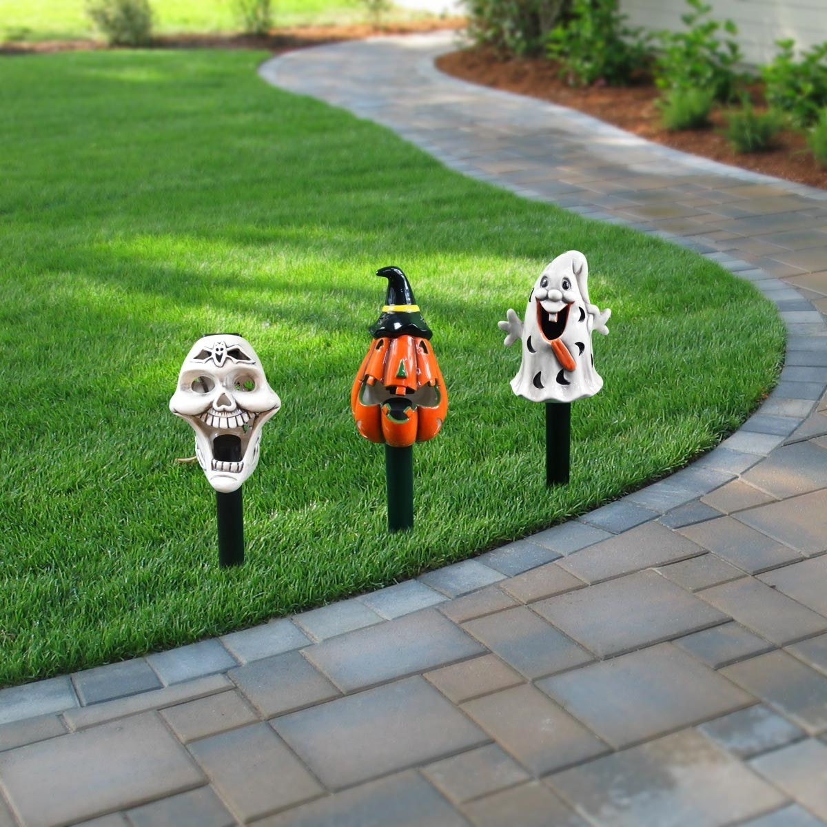 Solar Halloween Ceramic Garden Stakes w/LED lights