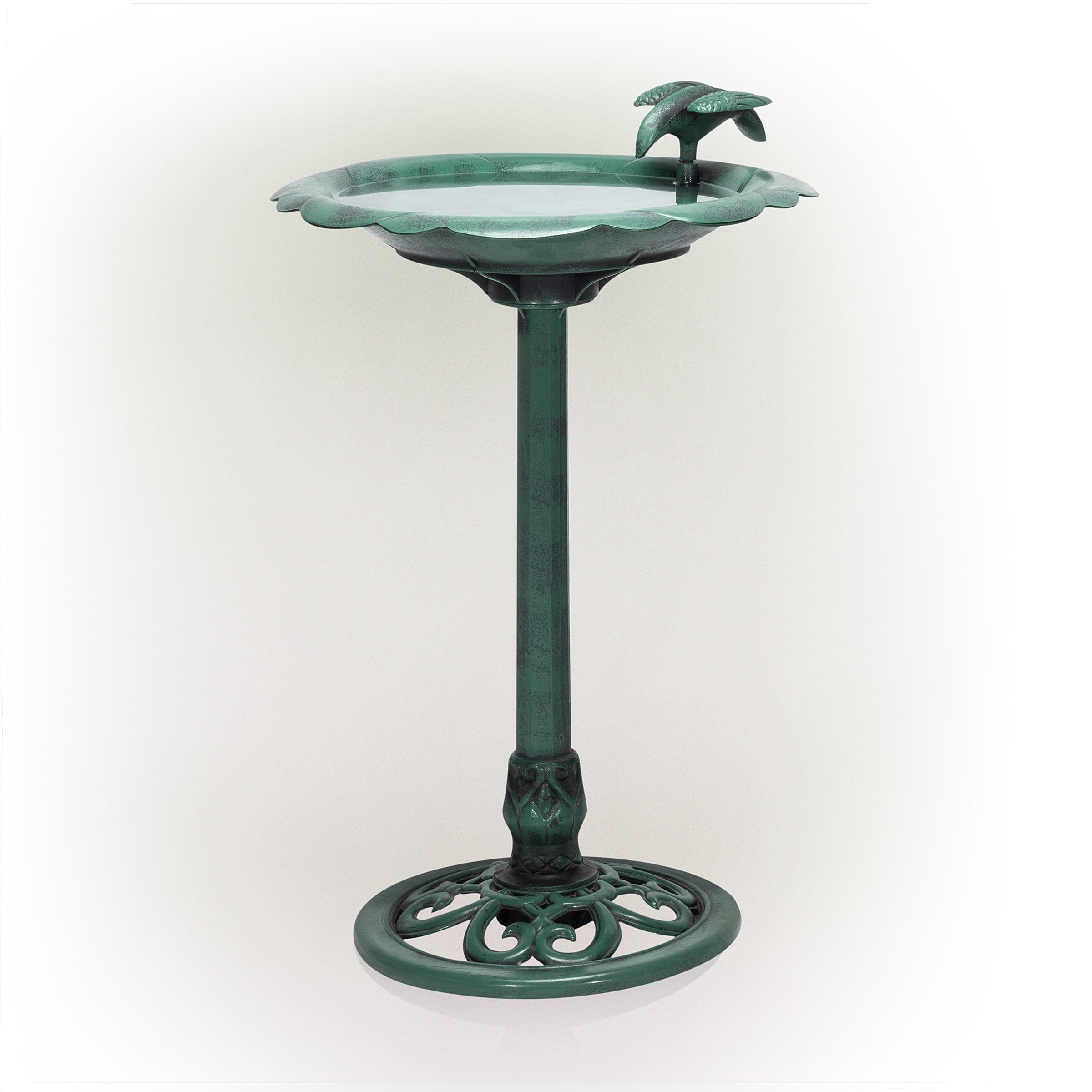"""32"""" Tall Birdbath & Feeder w/ Bird Figurine"""