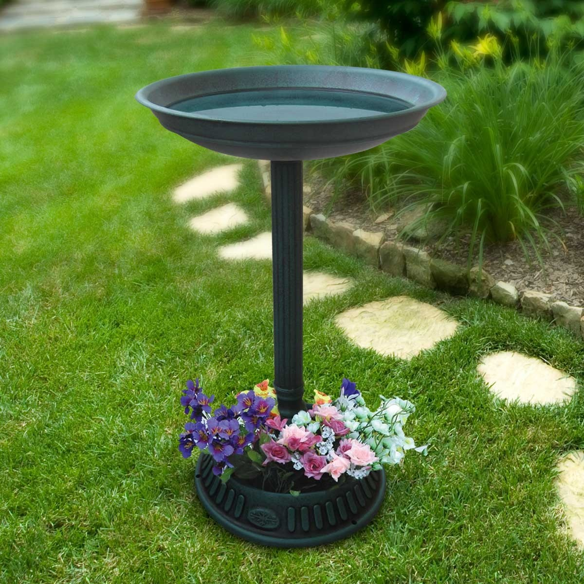 "25"" Birdbath With Planter Pedestal"